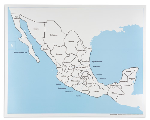 Mexico Control Map Labeled Asocijacija Montessori Srbija Ams